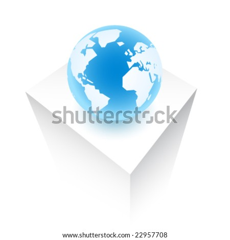 Planet Earth on a vector cube - stock vector
