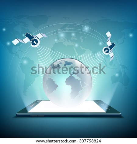 Planet Earth on screen tablet and satellites. Stock vector image. - stock vector
