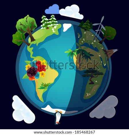Planet earth or world eco model in vector night version