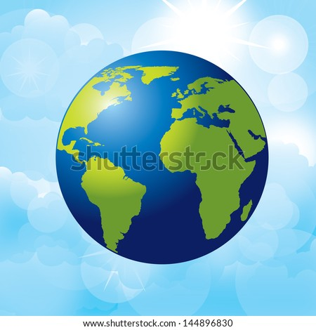 planet earth over sky background  vector illustration - stock vector