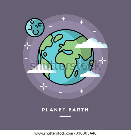 Planet Earth seen from space, line flat design banner, vector illustration  - stock vector