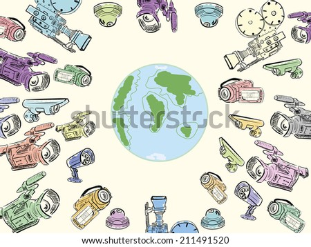 Planet Earth surrounded with supervision of video cameras - stock vector