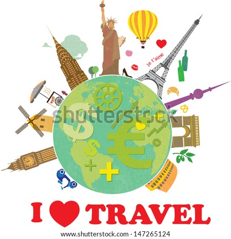 Planet earth travel the world - stock vector