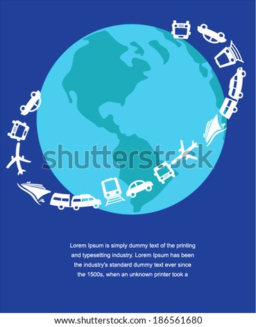 Planet earth travel the world concept on blue background  - stock vector