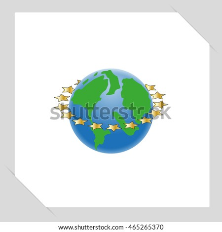 planet earth with gold stars, vector illustration