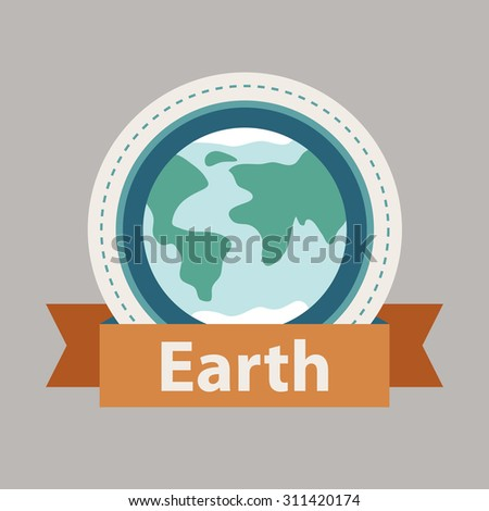 Planet Earth with golden ribbon. Vector illustration in flat style. - stock vector