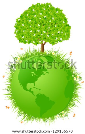 Planet Earth with Grass and Green Tree - stock vector