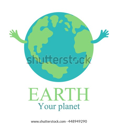 planet earth with hands map globe with text illustration vector. - stock vector