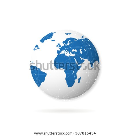 Planet earth with shadow on  white background