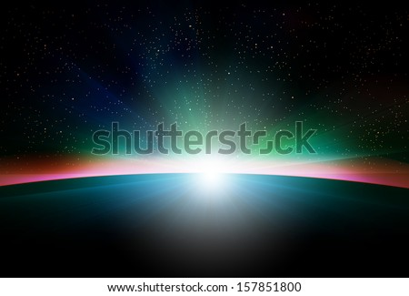 Planet earth with sunrise in space - stock vector