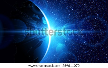 Planet earth with sunrise in space. Vector space background - stock vector