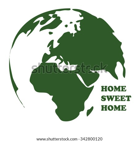 planet earth world map isolated sketch vector drawing - stock vector
