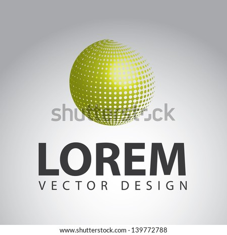 planet green over gray background vector illustration - stock vector