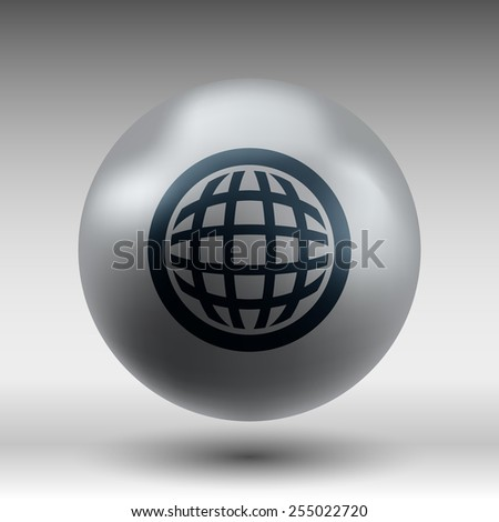 Planet icon network map earth business concept vector - stock vector