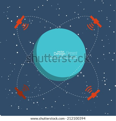 Planet in space with satellites transmit radio signals. Global connectivity technologies in the transmission of information. flat design. The orbit of a celestial body