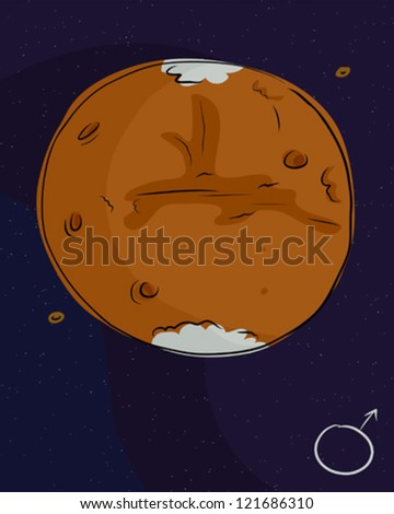 Planet Mars with its moons Phobos and Deimos - stock vector