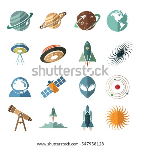 Planet Outer Space Aerospace Flat Icon Symbol Set