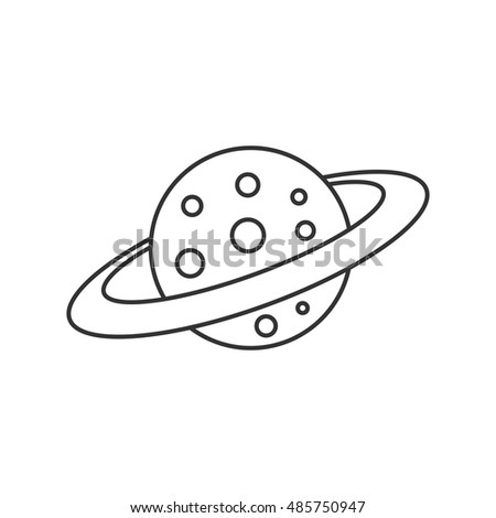 Planet Saturn icon in thin outline style. Plasma, belt, satellite