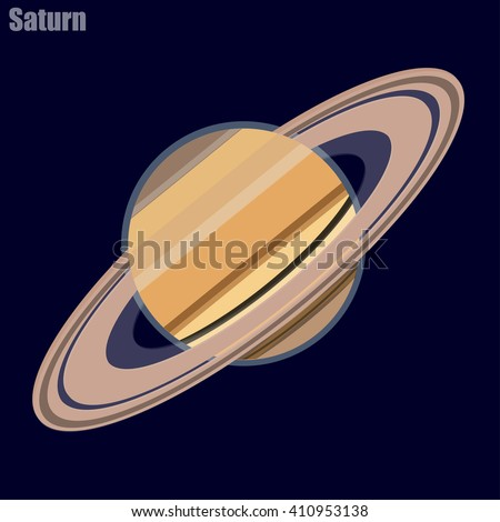 Planet Saturn in a flat style on a background of the cosmos. Illustration vector - stock vector
