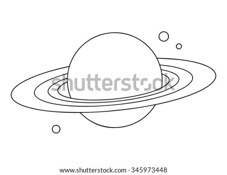 Planet Saturn with rings outline. - stock vector