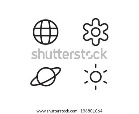 Planet Star Outline Icon Symbol - stock vector