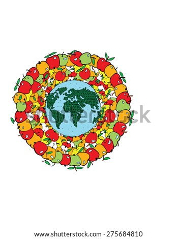 Planet with apple in colour - stock vector