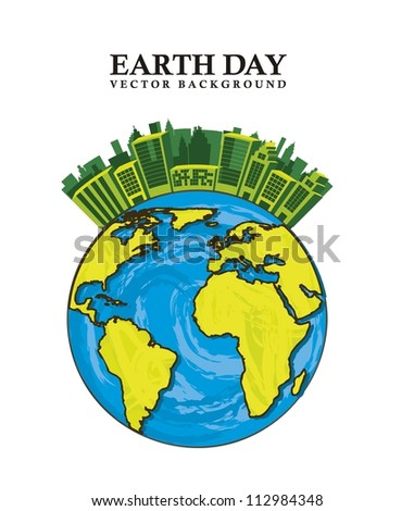 planet with buildings, earth day. vector illustration