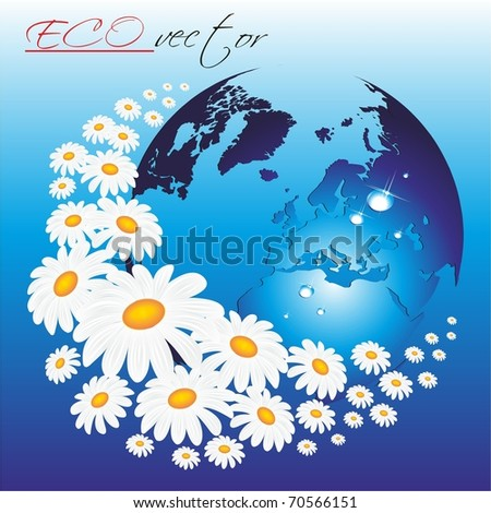 Planet with daisies. Vector illustration. - stock vector