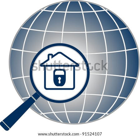 planet with lock in house and magnifier - stock vector