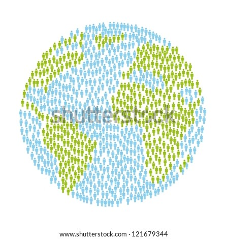 planet with people over white background. vector illustration - stock vector