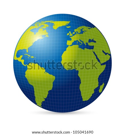 planet with shadow over white background. vector illustration - stock vector