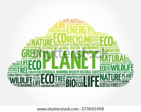 Planet word cloud, conceptual green ecology background - stock vector