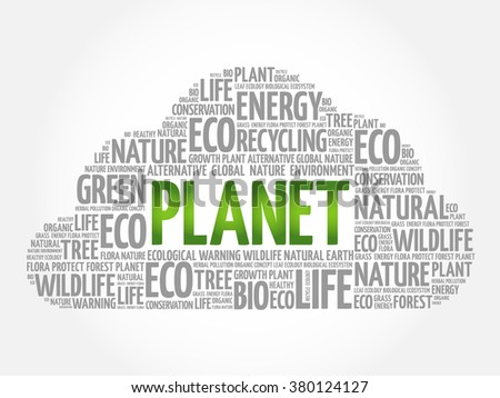 Planet word cloud, conceptual green ecology background