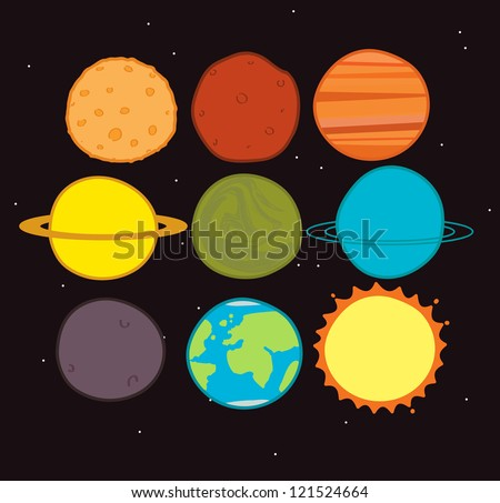 planets - stock vector