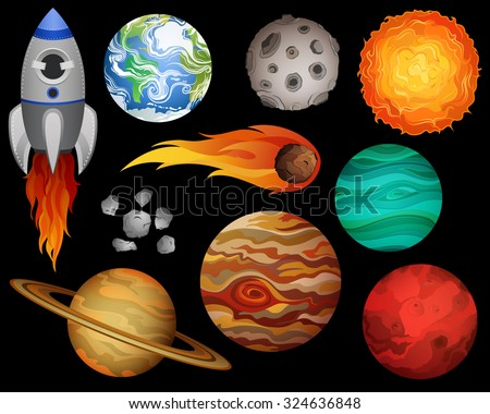 Planets and Outer Space Design Elements Vector  - stock vector
