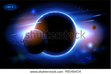 Planets at sunrise on the background of the cosmos. Eps 10. - stock vector