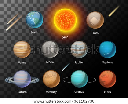 Planets colorful vector set on dark background, Planet vector set. Planet icons 3d infographic elements. Planets collection silhouette. Planets illustration vector 3d icons. Planet icons isolated - stock vector