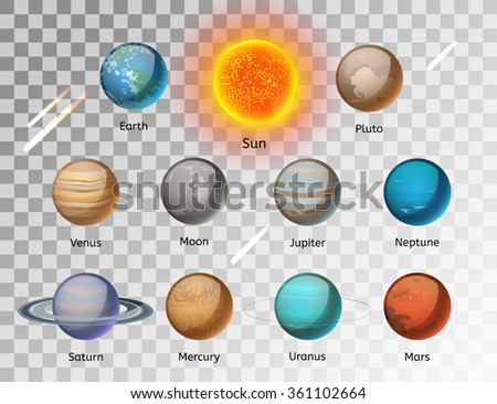 Planets colorful vector set on white background, Planet vector set. Planet icons 3d infographic elements. Planets collection silhouette. Planets illustration vector 3d icons. Planet icons isolated - stock vector