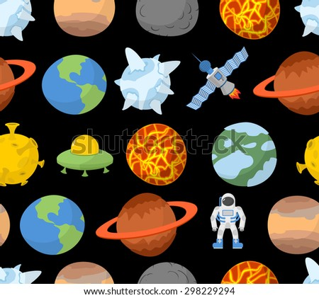 Planets of solar system seamless pattern. Vector space background. Spaceman and UFO  - stock vector