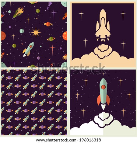 Planets, rockets and stars backgrounds set in different styles - stock vector