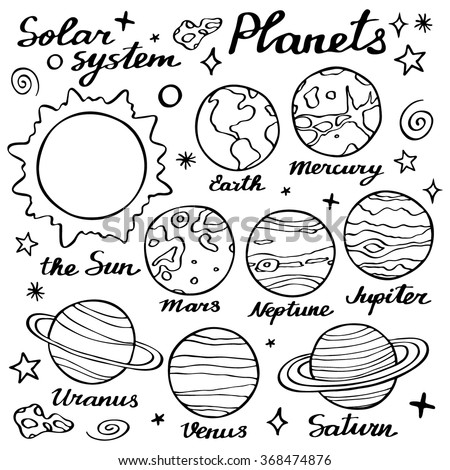 Planets Set Handdrawn Cartoon Collection Solar Stock ...