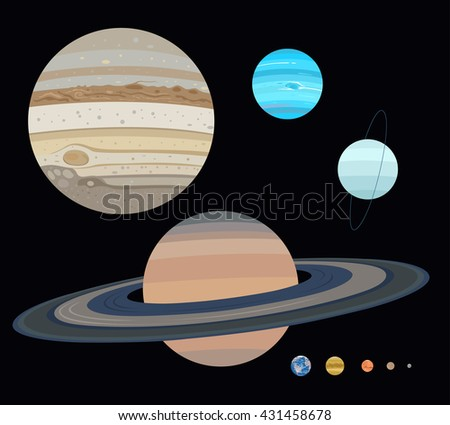 Planets set: jupiter, saturn, neptune, uranus, mercury, venus, earth, mars, pluto. List of Solar System objects by size. - stock vector