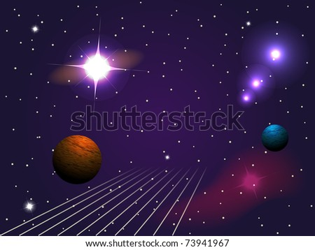 Planets, stars in the space - stock vector