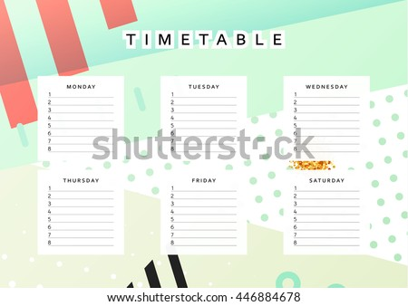 Planner calendar. Schedule the week, abstract design background. Template info organizer. Blank school. Layout sheet planning - stock vector