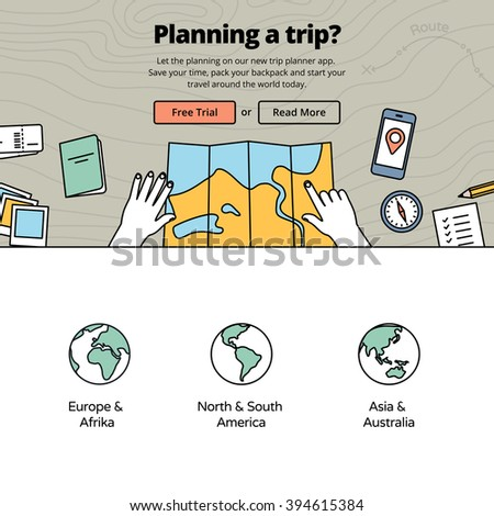 Planning a trip with a trip planner application. Travel preparation on wooden desk - vector illustration. Services for one page website design. - stock vector