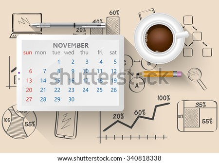 Planning calendar in the computer tablet showing the month of November - stock vector