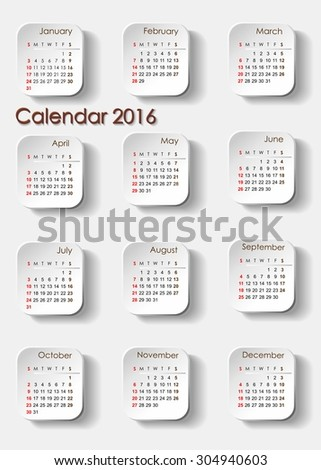 Planning calendar 2016 portrait. Individual months are particularly separate tile