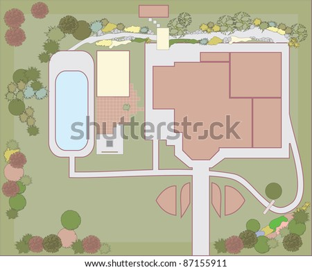 Planning of the plot in a residential building. Landscaping project. - stock vector