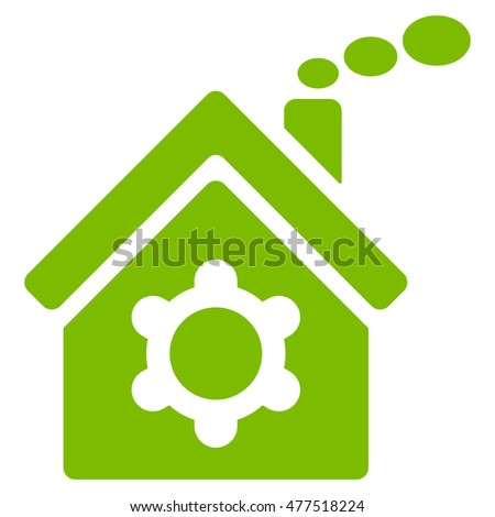 Plant Building icon. Vector style is flat iconic symbol, eco green color, white background.