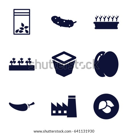 Plant icons set. set of 9 plant filled icons such as leaf, peach, factory, pepper, cucumber, pot for plants, plant in pot, sprout plants